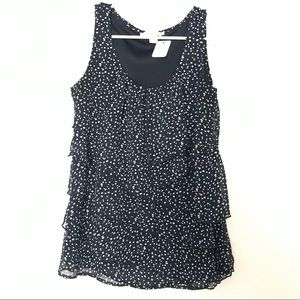 Dressbarn ruffled blouse black with white dots